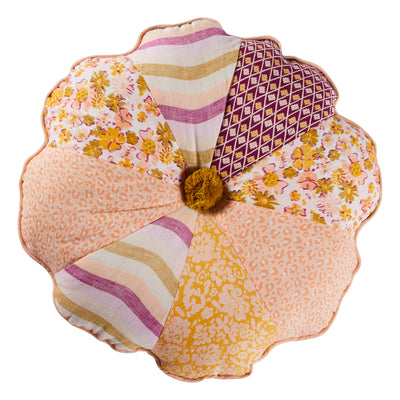 henrietta patch flower shaped cushion with pompom