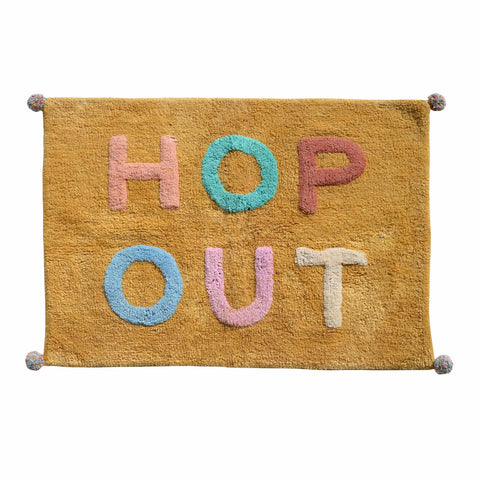 Hop out easter bath mat mustard, pink, green, blue multicoloured typography