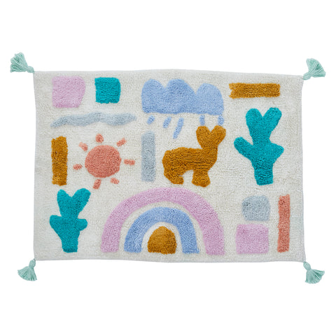 Multi coloured desert scape bath mat rainbow cactus sun