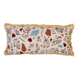 Long cushion with terrazzo shapes in multicolours with hand embroidery and parchment fringing