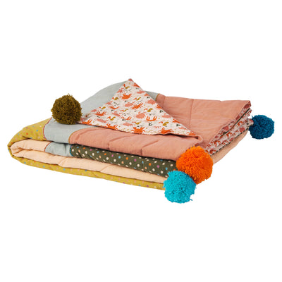 Ida Polka Dot Bedcover with crab print design, semi-circle motif and pom pom finishes