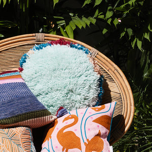 Inaya Shag Cushion - Mint