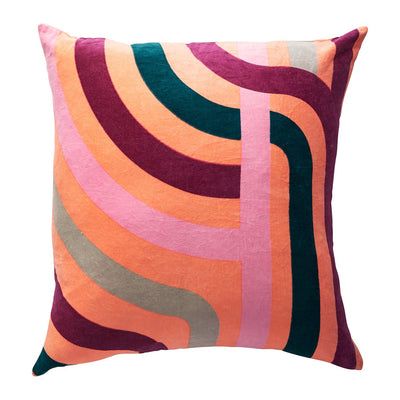 Jenny velvet cushion in Peach with coloured geometric pattern