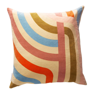 Jenny velvet cushion in pistachio with coloured geometric pattern