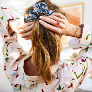 Jasmin linen blend abstract hand printed faces pyjamas