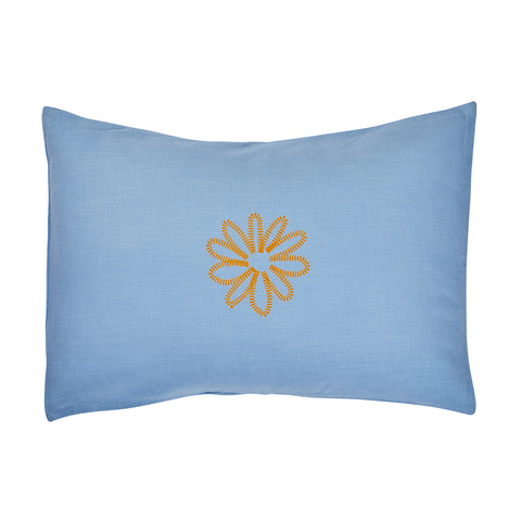 Junipero Floral Pillowcase with hand printed dashed flower in dandelion on a textured cornflower base with envelope seam reverse.