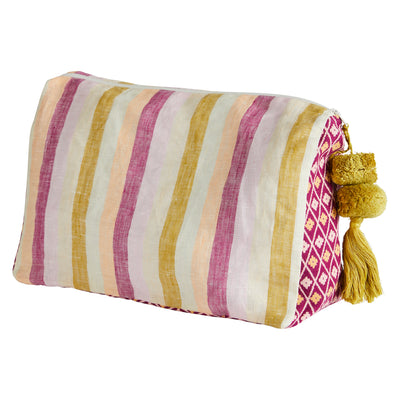 justine striped linen geometric cosmetic bag