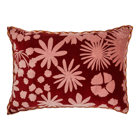 Kelso Velvet Cushion. Luxurious velvet cushion with a tonal, floral design. Hand printed with a bold pattern. Finished wit a geometric tile print flange and reverse.