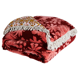 Velvet floral bedcover merlot red with small floral reverse and multi coloured fringe