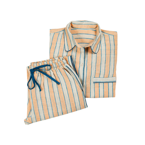 Kitty Linen Stripe Pyjamas - Cantaloupe