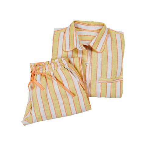 Kitty Linen Stripe Pyjamas - Lemon