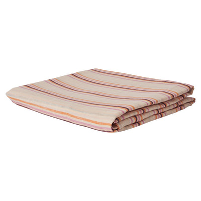 Lio Stripe Linen Fitted Sheet in tangerine