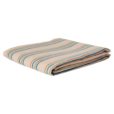 Lio Stripe Linen Fitted Sheet in turquoise