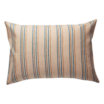 Lio Stripe Linen Pillowcase Set - Turquoise in a woven stripe
