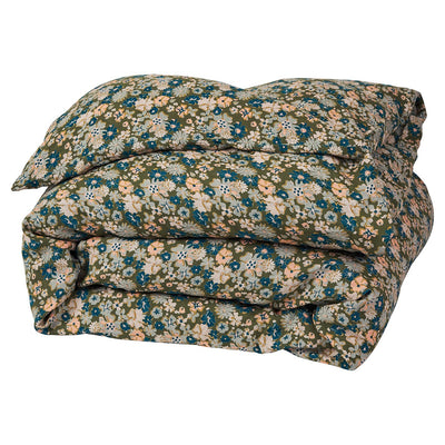 Loveat Linen Quilt Cover in a multi-coloured, vintage floral print
