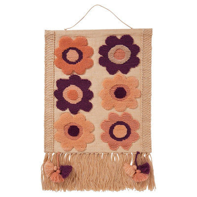 Luella Woven Wall Hanging with a multi-coloured floral design and large fringing and tassels