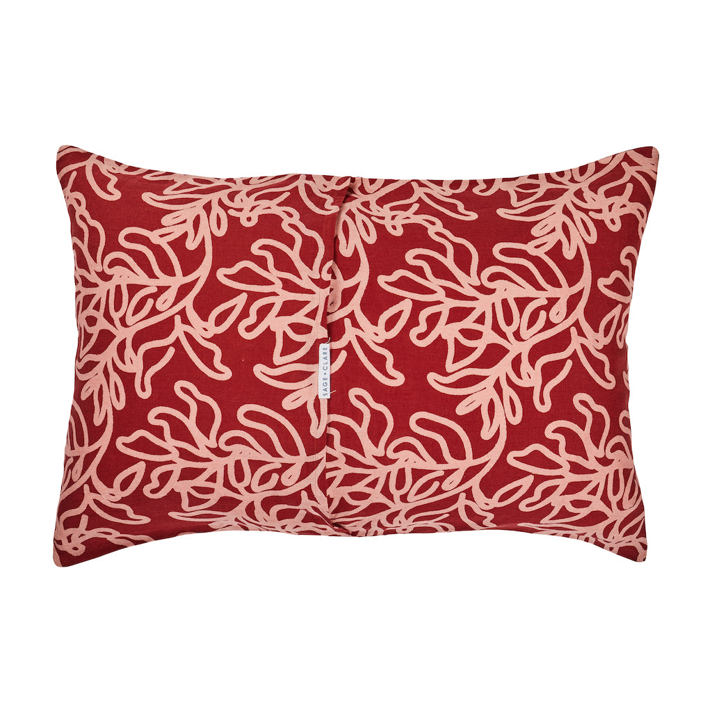 large-scale leaf pattern hand printed linen pillowcase