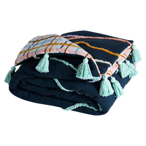 Blue bedcover blanket with multicoloured tufting, check reverse and blue tassels