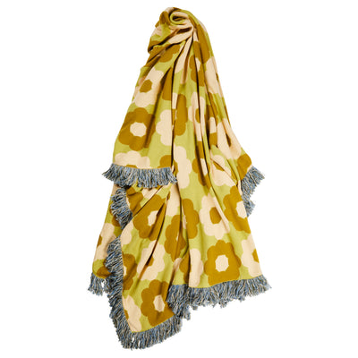 Loie Cotton Jacquard Knit Blanket Flowers