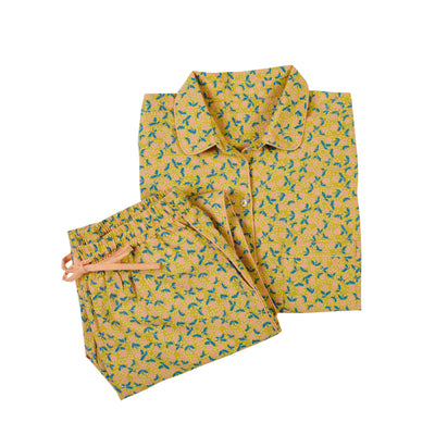 Lola linen blend botanical lemon hand printed pyjamas
