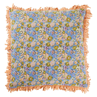 Louna Cotton Fringe Cushion Ditsy Floral Cornflower Blue