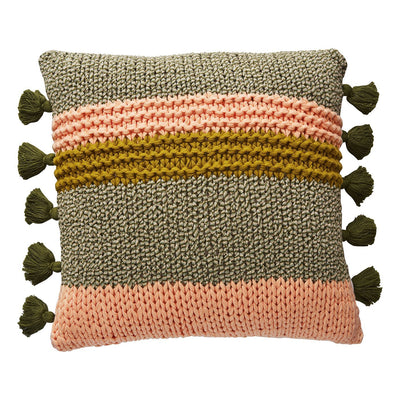 Maisy Knit Cushion with bold stripes of peach, honey and khaki