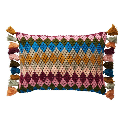 Marlene Crochet Cushion with multi-colour harlequin pattern and tassels