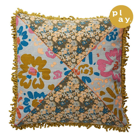 Mildred Patch Cushion in a multi-coloured floral design and fringed edging