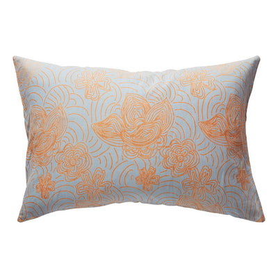 Moli Linen Pillowcase Set with floral design in powder and parchment