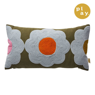 Myrtle Soutache Cushion in khaki with floral motifs
