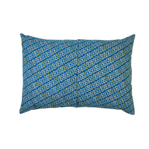 Maci cotton percale hand printed sunglasses pattern standard pillowcase azure