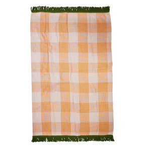 hand woven bath sheet and beach towel with fringing