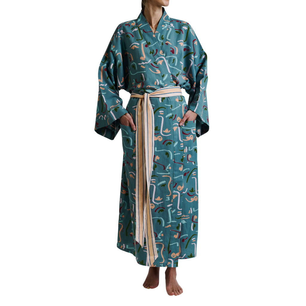 Maite Cotton Flax Linen Abstract Faces Tie Bath Robe