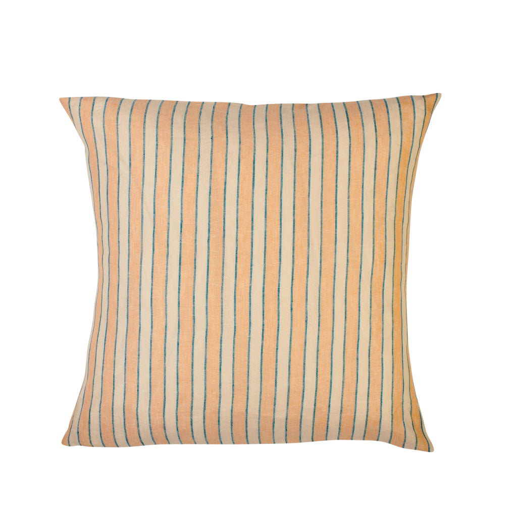 Coral pink and blue stripe Euro pillowcase set
