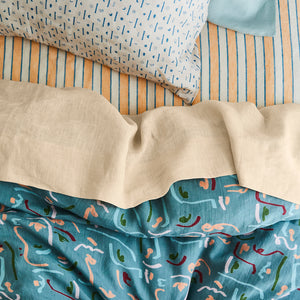 European flax yarn dyed stripe linen fitted sheet cantaloupe