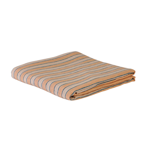 Pink coral and blue stripe flat sheet