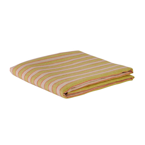 Yellow lemon and pink coral stripe flat sheet