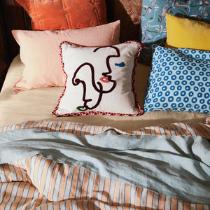 pink coral and blue stripe quilt cover king queen