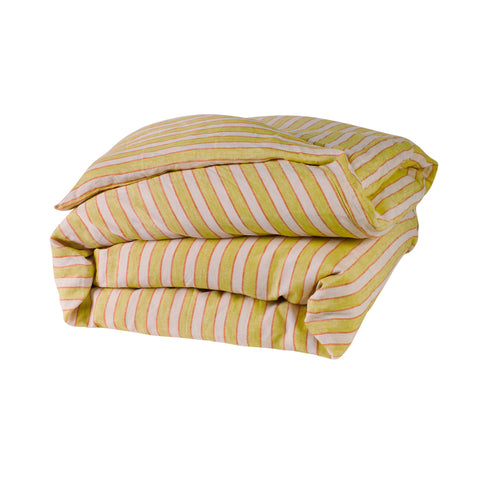 yellow lemon and pink coral stripe quilt cover king queen