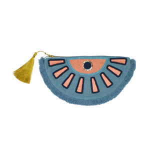 Mia beaded sequin gold tassel evil eye semicircle clutch purse