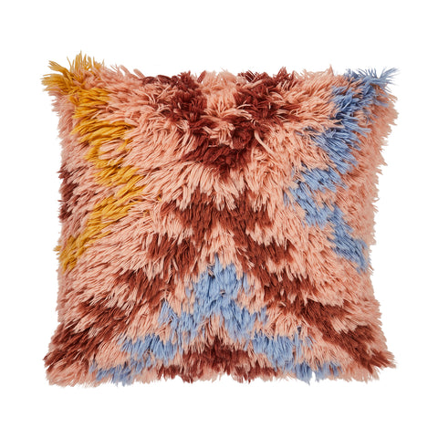 Mojave Shag Cushion - Terracotta. Flokati-inspired shag cushion with textural design and Aztec shapes. Hand dyed wool in terracotta, tan and cornflower. Finished with a cotton reverse.