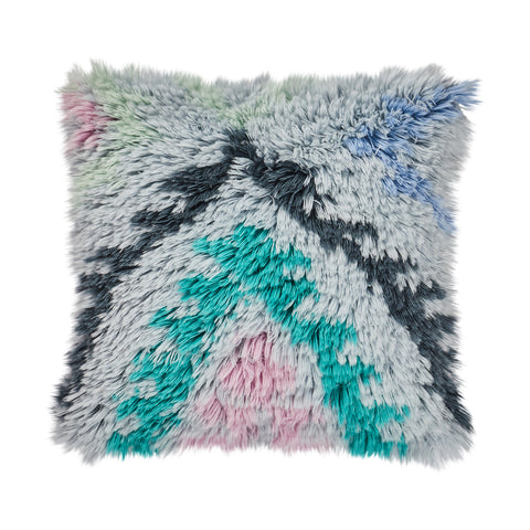 Mojave Shag Cushion - Haze. Flokati-inspired shag cushion with textural design and Aztec shapes. Hand dyed wool in haze, cornflower, taffy and opal. Finished with a cotton reverse.