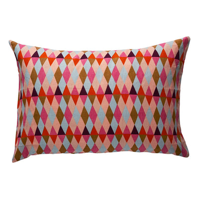 Nansa Linen Pillowcase Set in a multi-coloured harlequin print