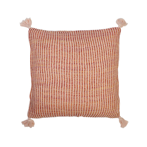 Nadine brioche knitted multicolour cotton cushion with tassels