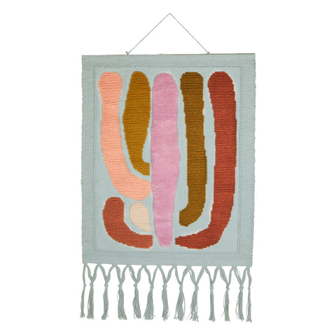 hand woven artisanal wall hanging with cactus motif