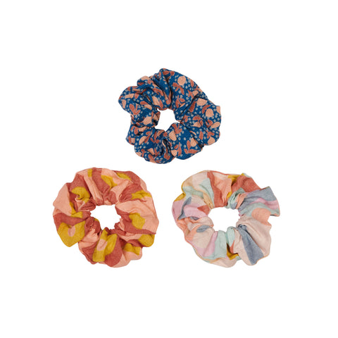 Nimes hand printed linen hair scrunchie set of three