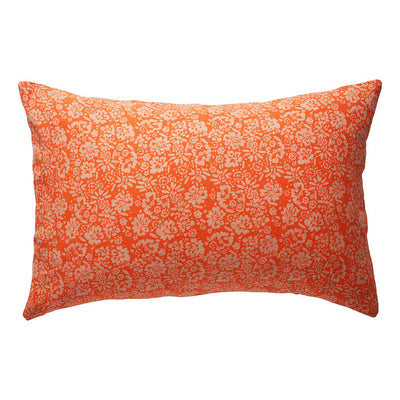 Ohana Linen Pillowcase Set - Tangerine in a wandering floral design