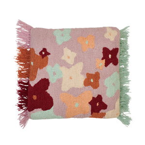 Square cushion with punch needle floral flower design and side fringing in multi colours