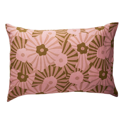 Pacha Linen Pillowcase in a multi-coloured striped floral design