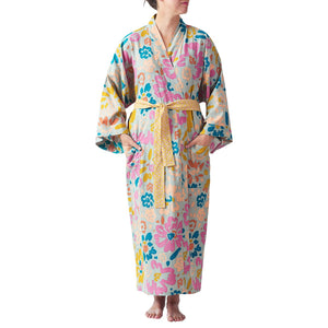 Palmera Floral Robe in multi-coloured wandering floral design with a  honey leopard print tie